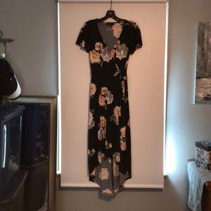 BCX size small black floral dress